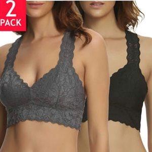 Felina 2 Pack Lace Bralette Black/Gray Medium